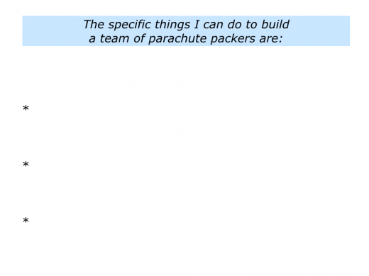Slides P is for building a team of parachute packers.011