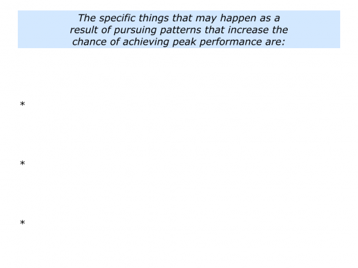 Slides Pursuing Patterns for Peak Performance.010